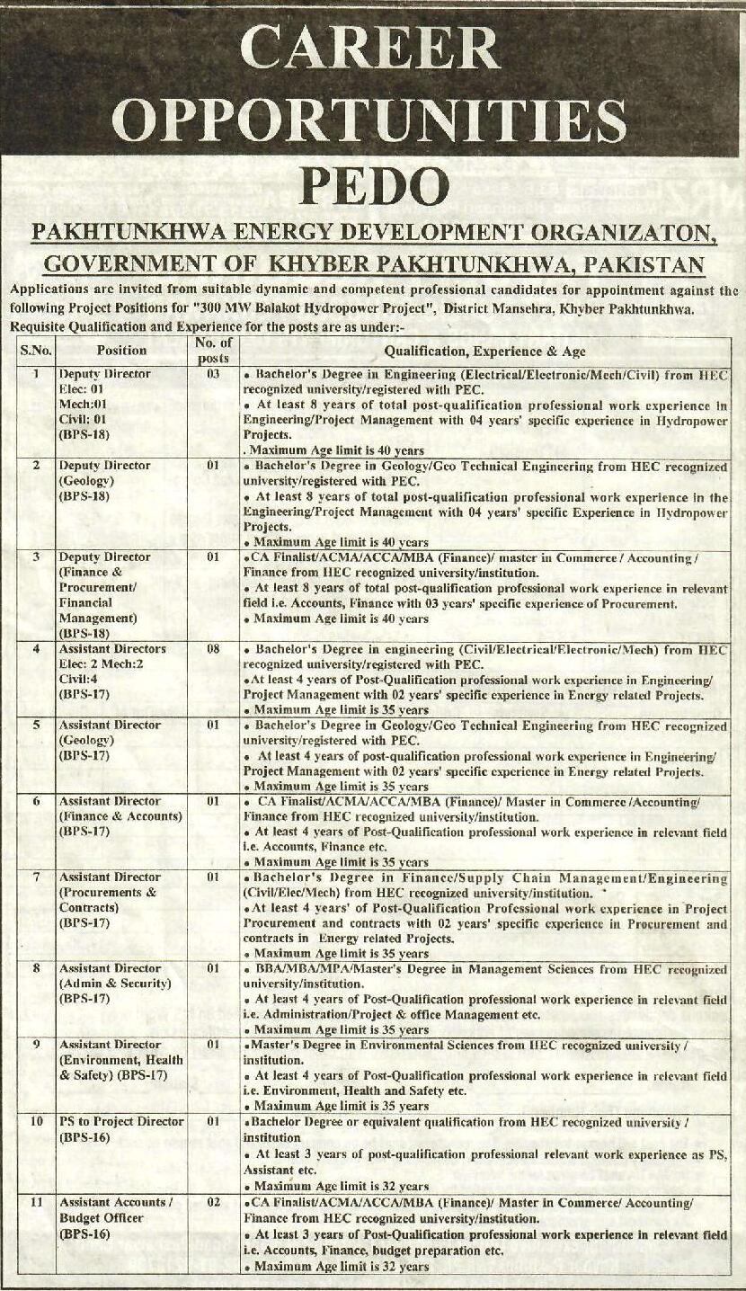 PEDO Balakot Hydro Power Project Jobs FTS Test Roll Number Slip