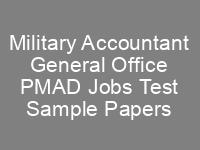 Military Accountant General Office PMAD Jobs NTS Written Test Syllabus Past Papers