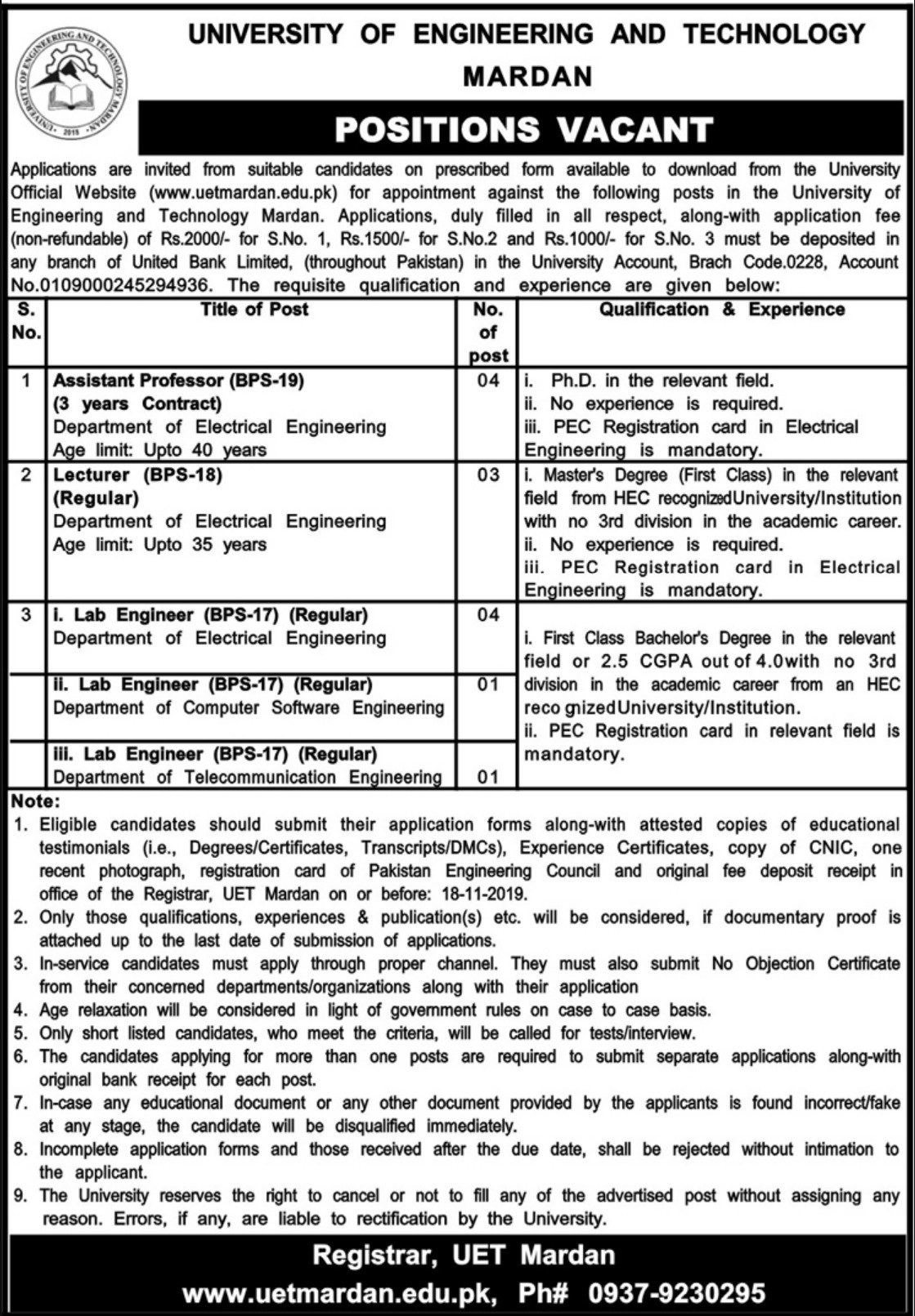 University of Engineering Technology UET Mardan Jobs November 2019