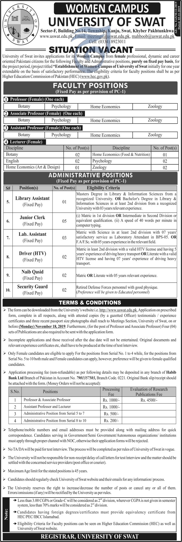 University of Swat USWAT Jobs Women Campus November 2019