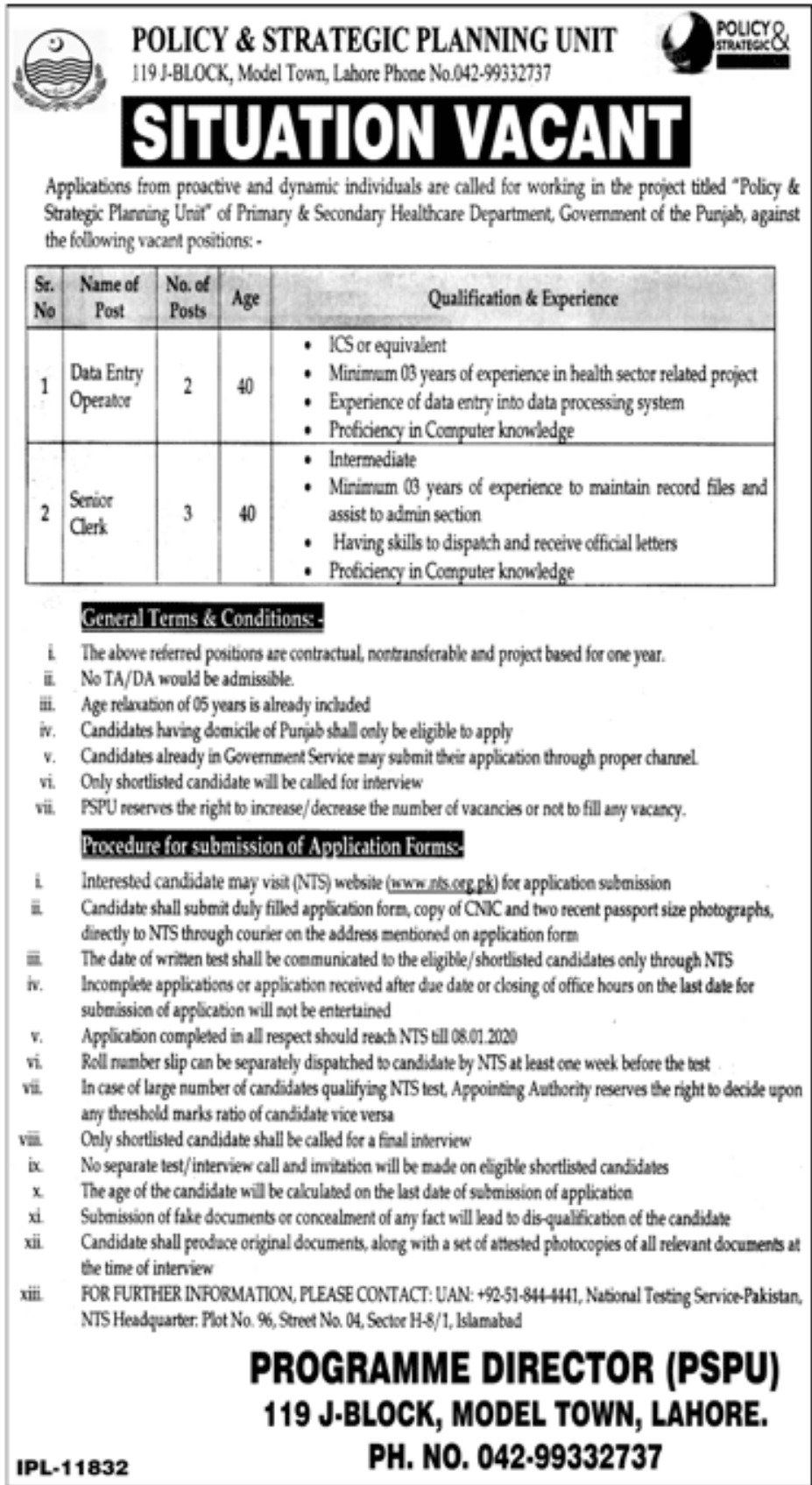Policy Strategic Planning Unit PSPU Jobs Via NTS