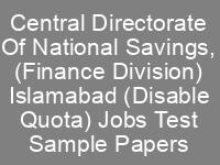 National Savings Jobs NTS Written Test Syllabus Sample Papers