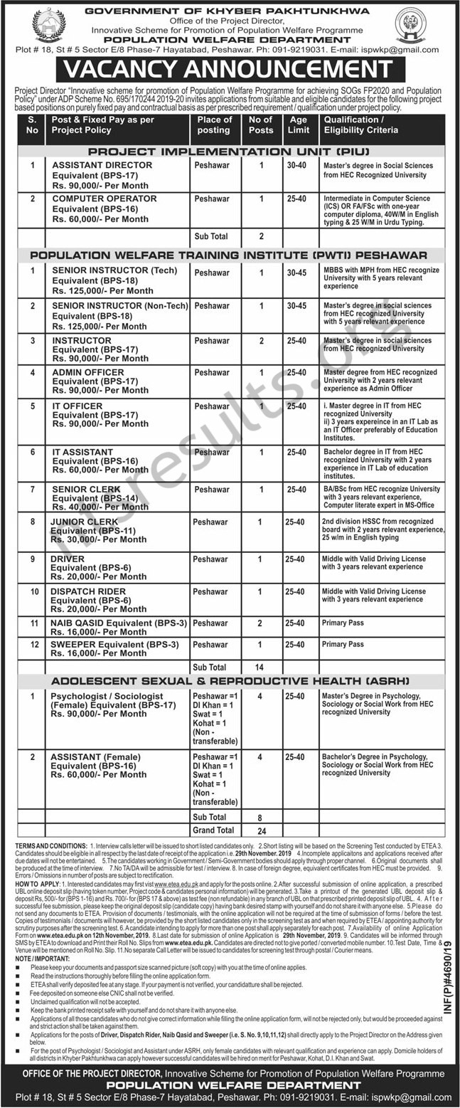 Population Welfare Department KPK Jobs ETEA Test Roll No Slip