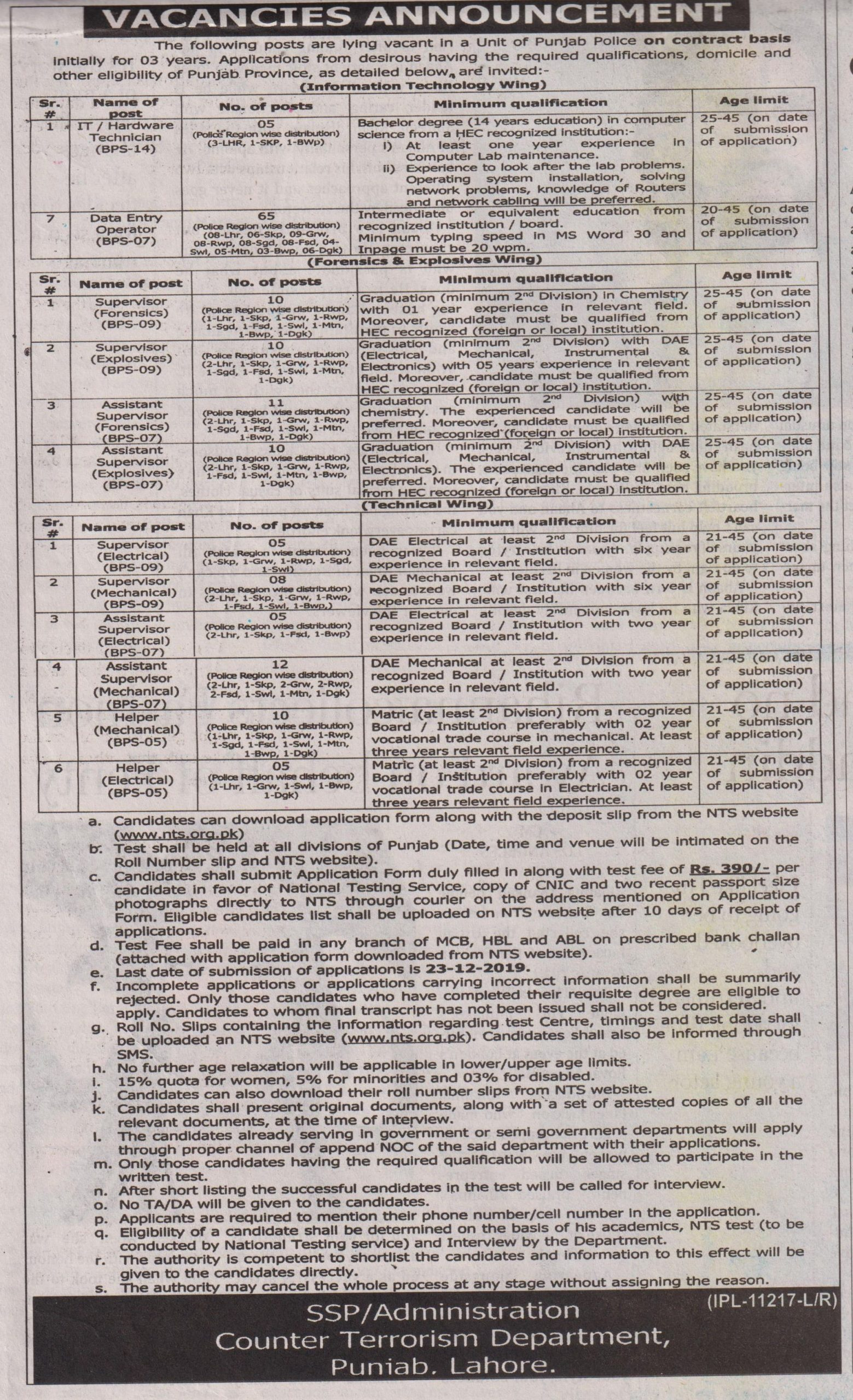 CTD Punjab Police Jobs NTS Test Answer Keys Result Counter Terrorism Department