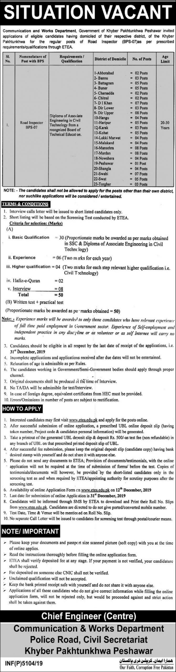 Communication and Works Department CWD KPK Jobs ETEA Roll No Slip