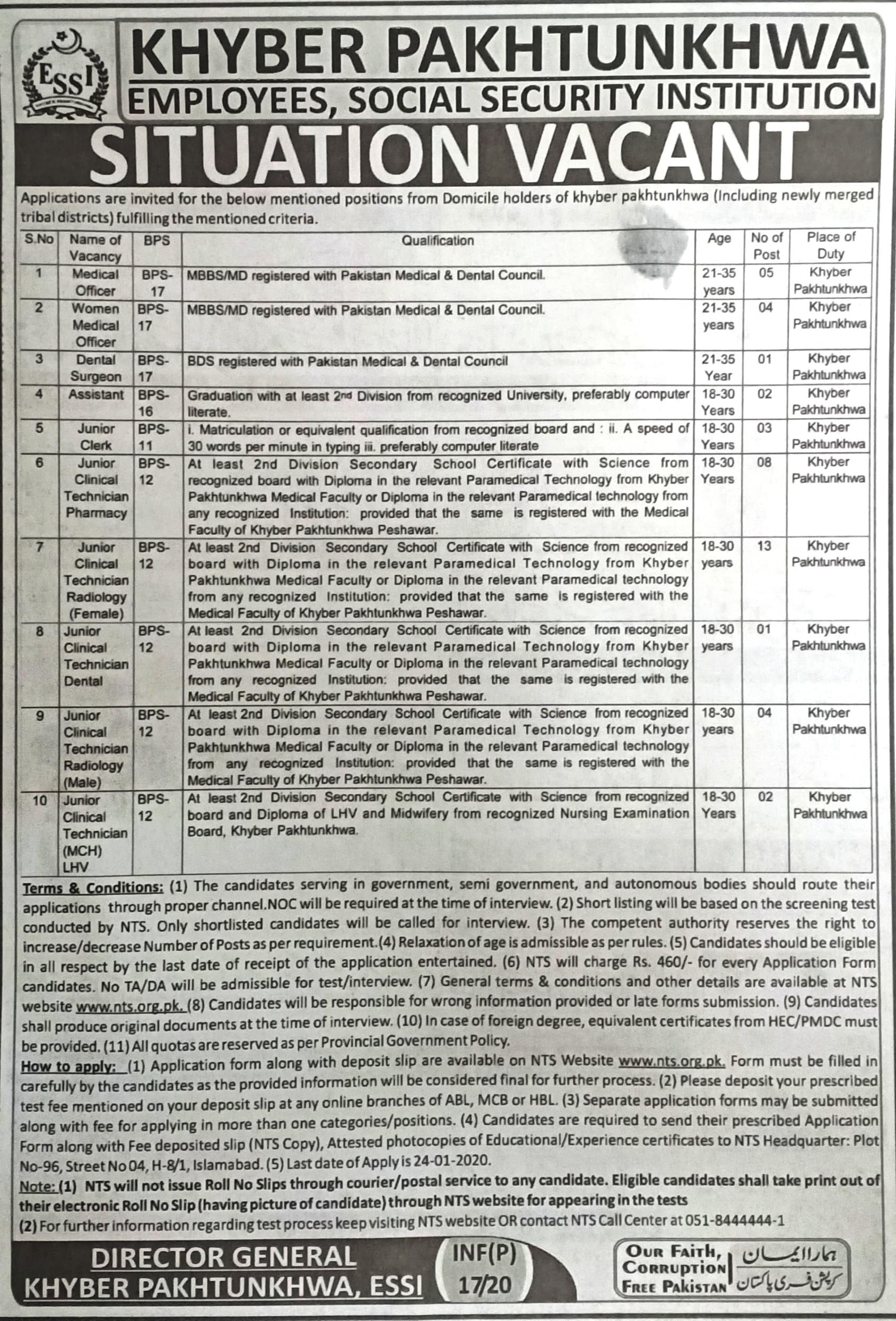 Employees Social Security Institution Jobs ESSI KPK Via NTS