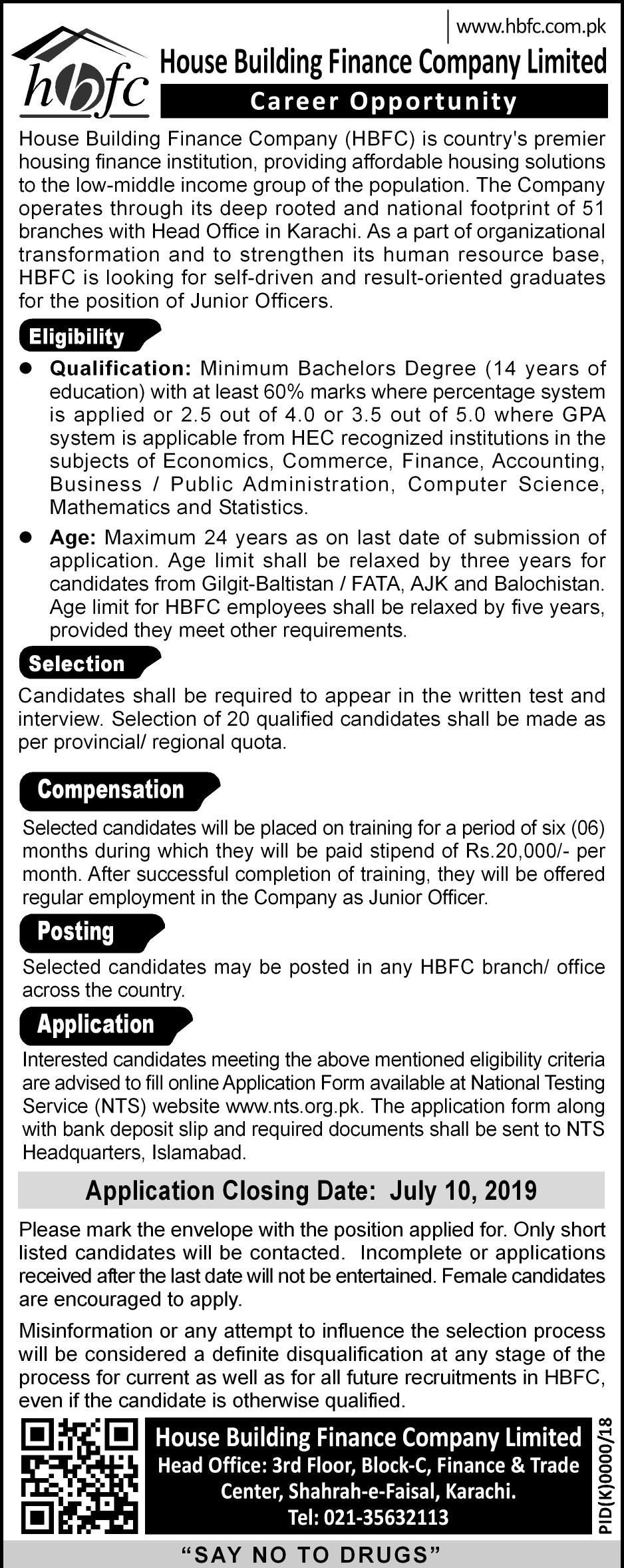 HBFC Junior Officer NTS Test Answer Keys Result House Building Finance Company