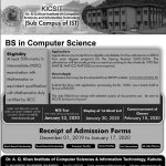 KICSIT Admission Spring 2020 NTS Roll No Slip BS in Computer Science Dr. A.Q Khan Institute of Computer Sciences and Information Technology
