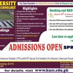 KUST Spring 2020 Admissions NTS Roll No Slip Kohat University of Science & Technology