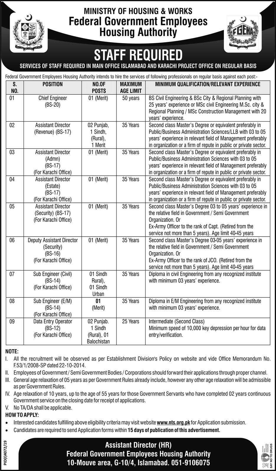 Federal Government Employees Housing Authority FGEHA Jobs Via NTS