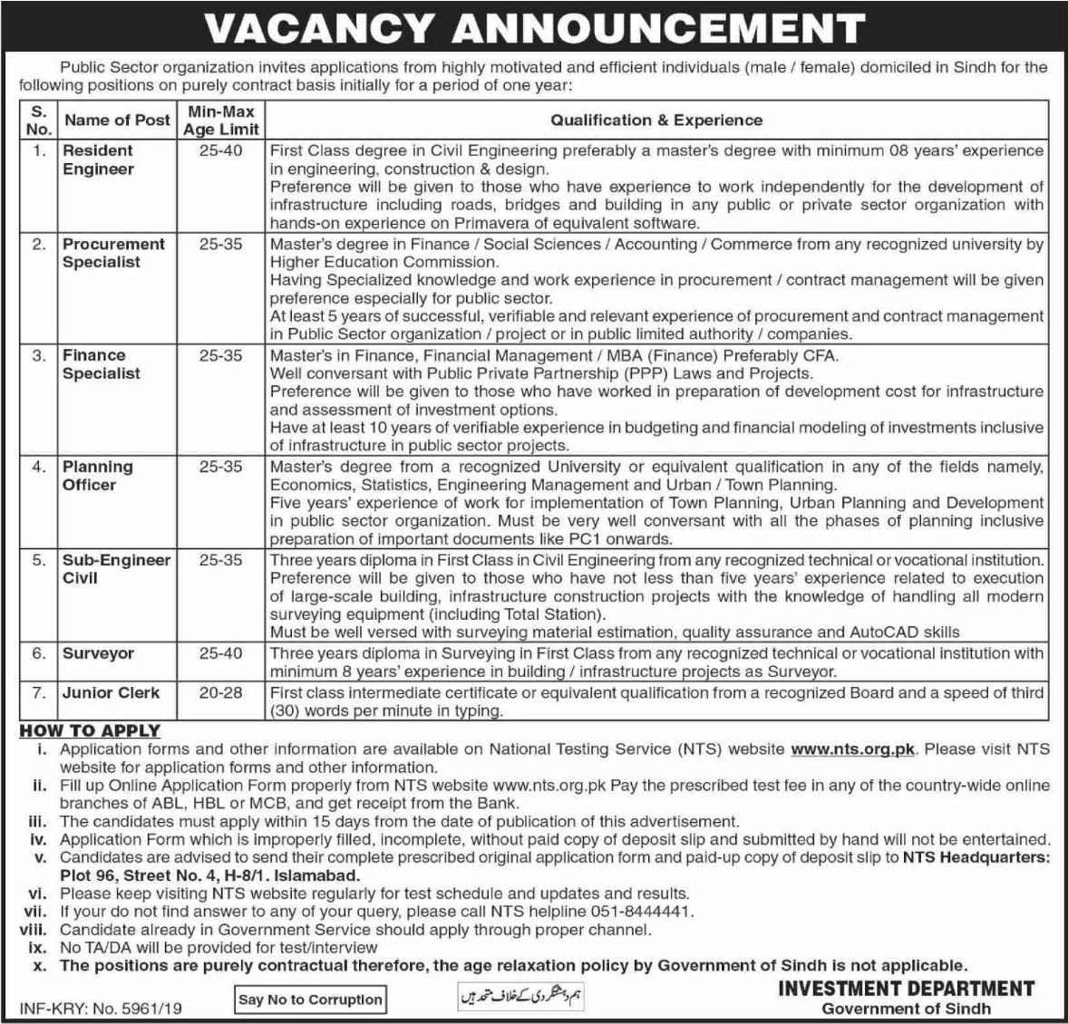 Public Sector Organization Jobs NTS Test Result Answer Keys Govt of Sindh