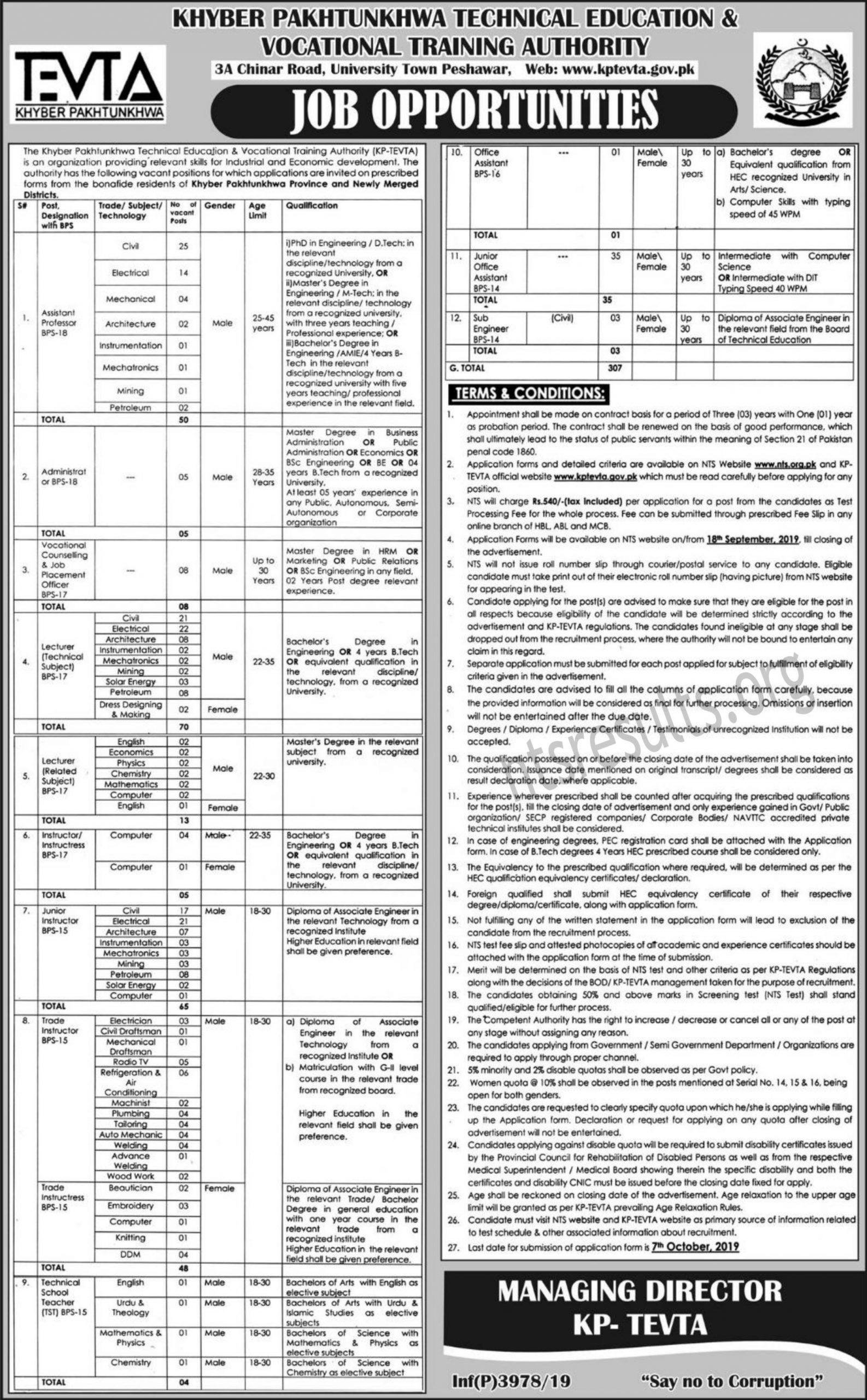 KPK Tevta Technical Education Vocational Training Authority NTS Test Answer Keys Result BPS-17 and Above