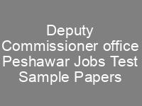 Deputy Commissioner Peshawar Jobs NTS Written Test Syllabus sample Papers