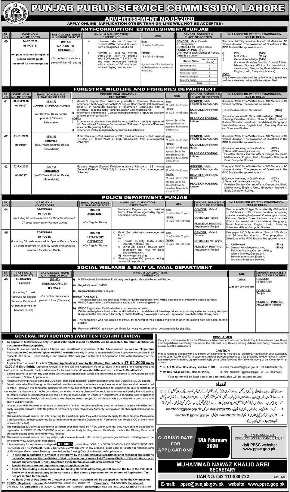 Data Entry Operator Assistant Medical Officer Jobs PPSC Roll No Slip