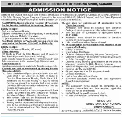 Directorate of Nursing Sindh Karachi Admissions 2020 NTS Result BSc Nursing Post R.N Degree Psychiatric Diploma