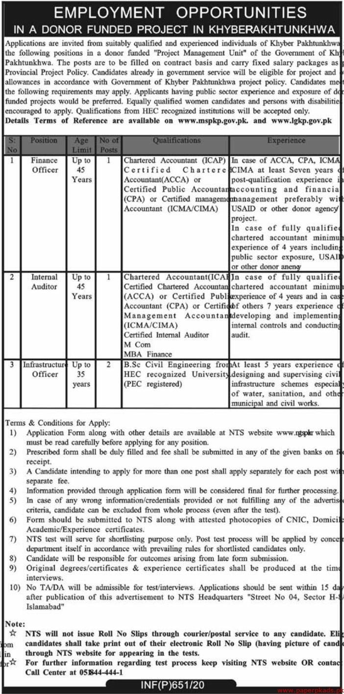 Donor Funded Project KPK Jobs NTS Roll No Slip