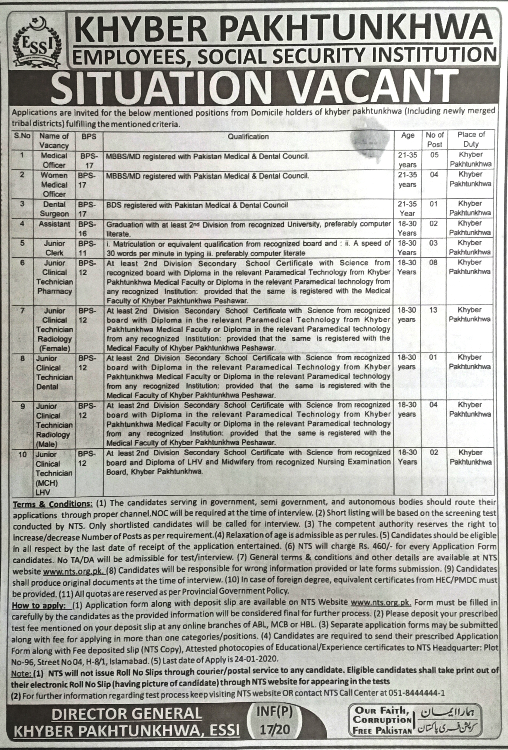 ESSI KPK Jobs NTS Answer Keys Result Employees Social Security Institution Khyber Pakhtunkhwa