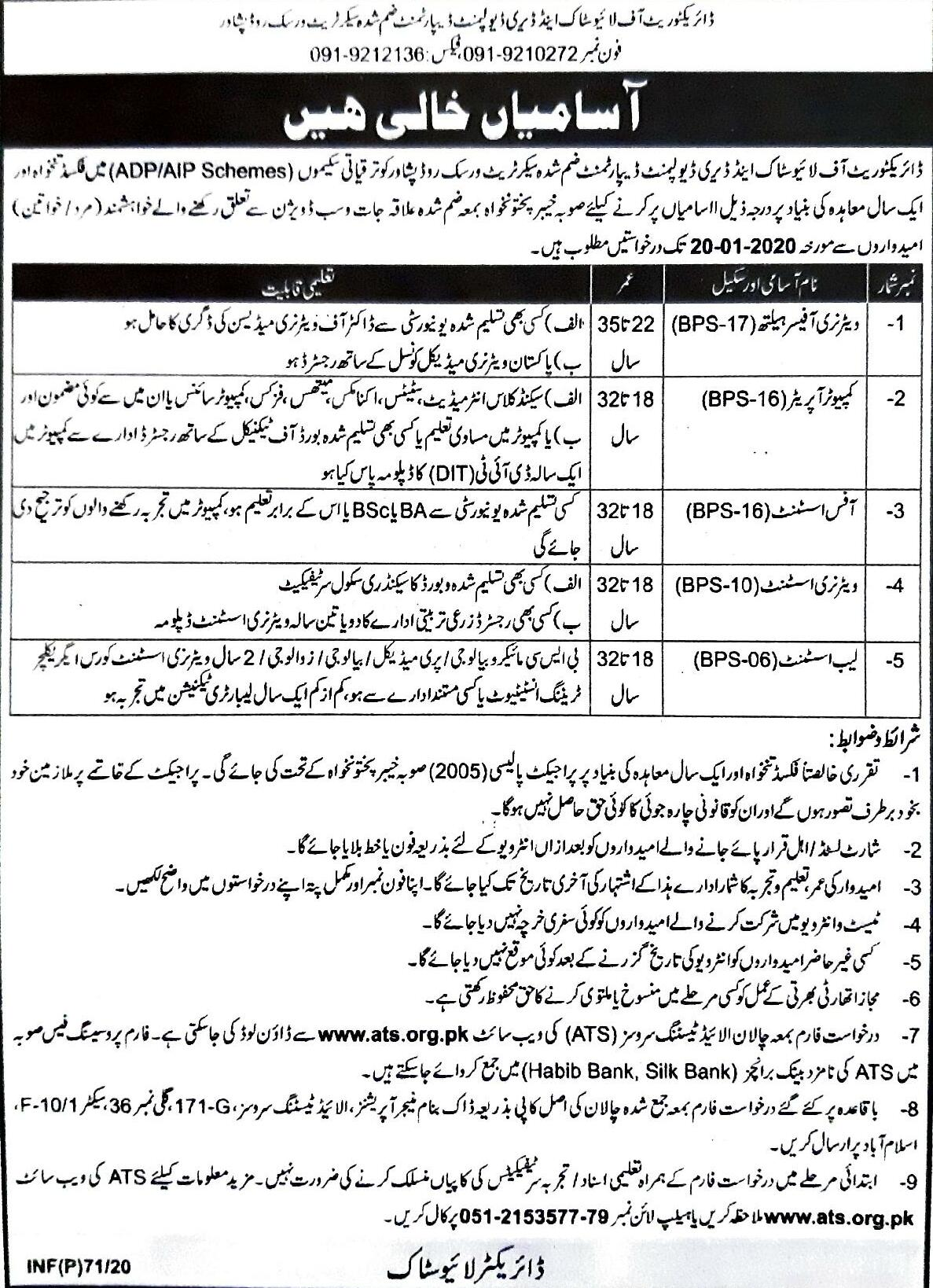 Livestock Dairy Development Department Jobs ATS Roll No Slip