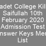CCKS Class 7th Admissions CTSP Answer Keys Result Merit List Cadet College Killa Saifullah
