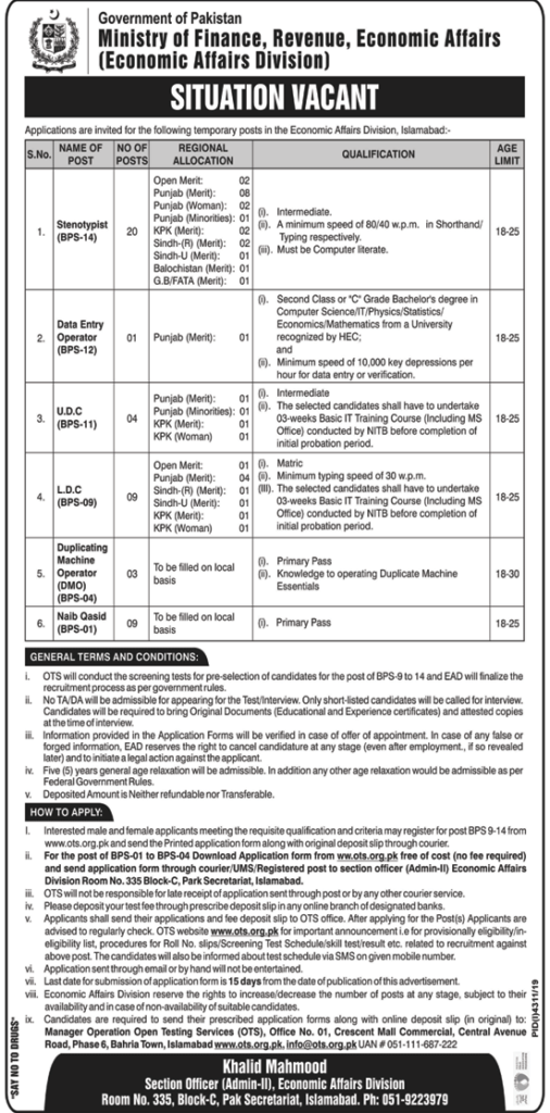 Ministry of Finance Revenue Economics Affairs Jobs OTS Roll No Slip