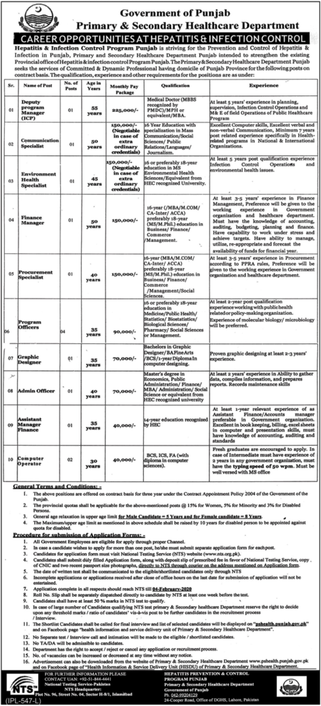 Primary Secondary Health Care Department Jobs NTS Test Roll No Slip