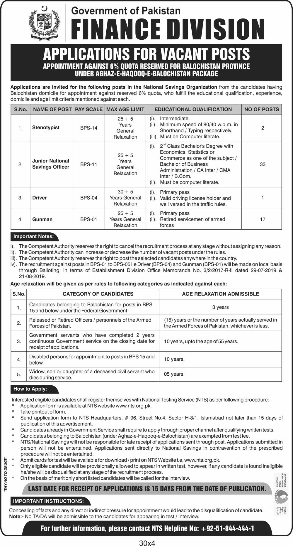 Central Directorate Of National Savings Jobs NTS Roll No Slip