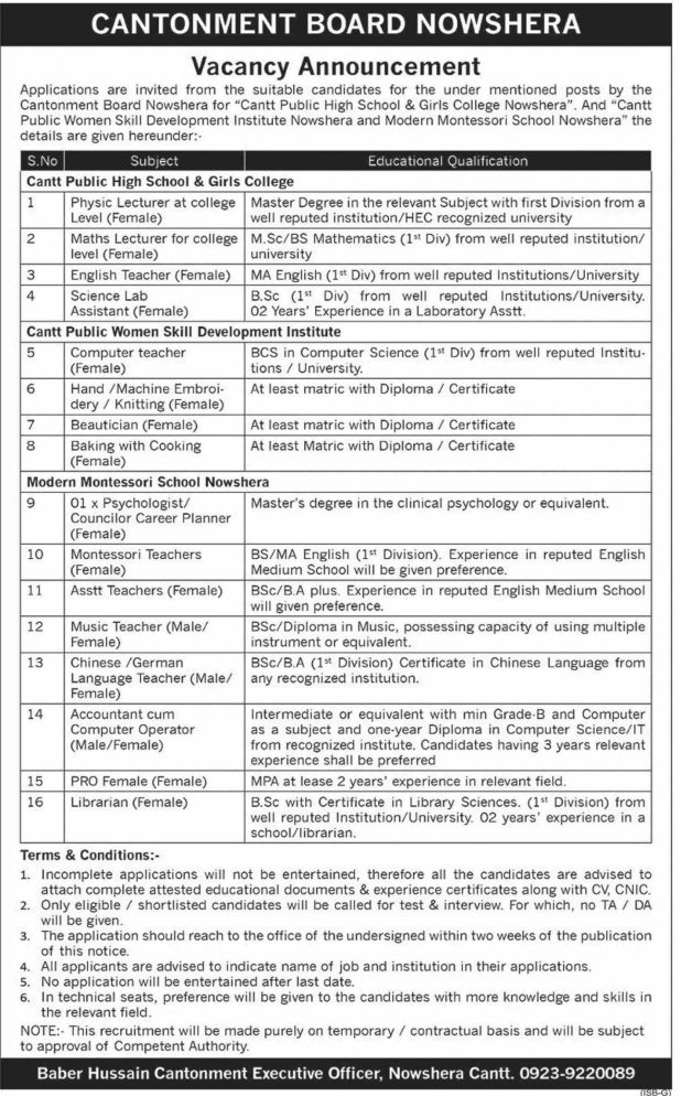 Cantonment Board Nowshera Jobs March 2020