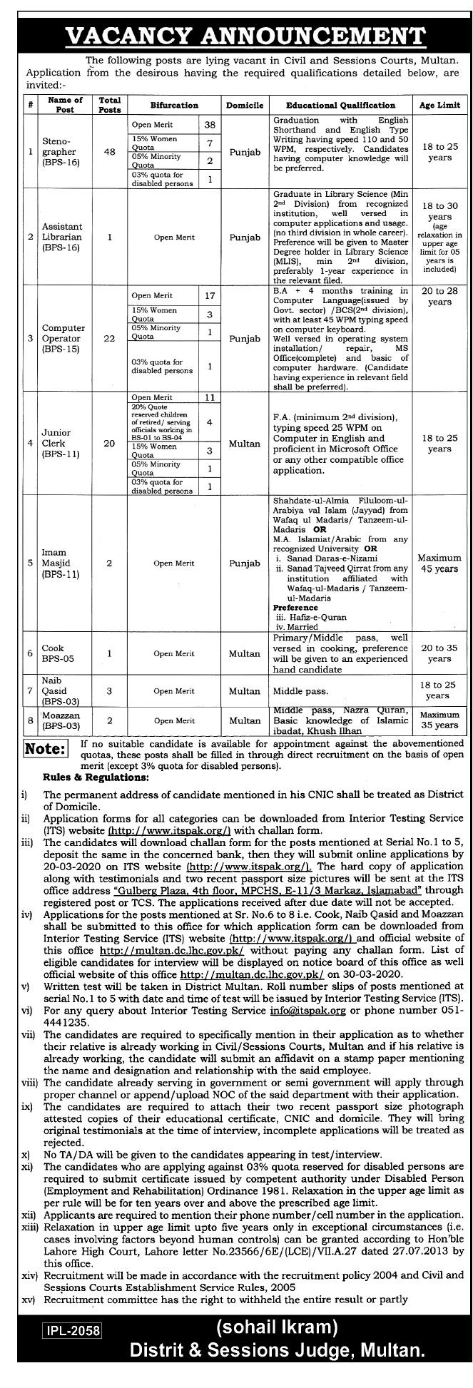 District Session Courts Multan Jobs ITSPAK Roll No Slip