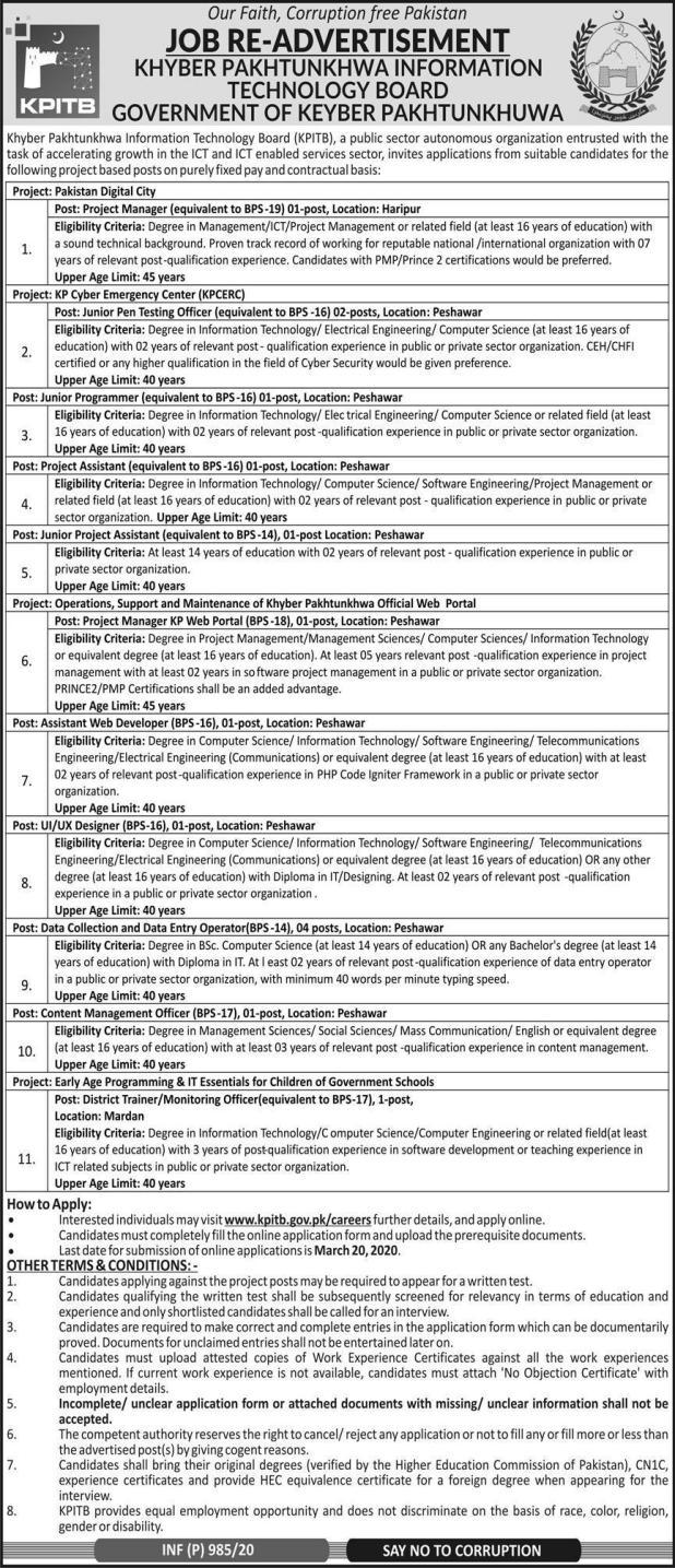 KPK Information Technology Board KPITB Jobs Govt of Khyber Pakhtunkhwa