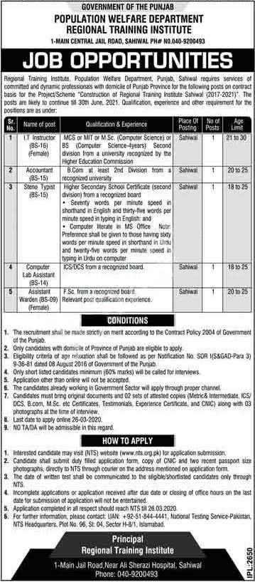 Population Welfare Department Regional Training Institute Sahiwal Jobs Via NTS