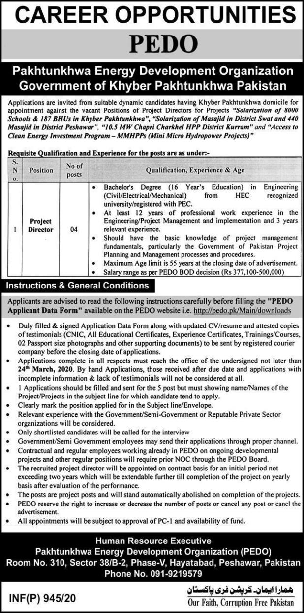 Pedo Jobs Khyber Pakhtunkhwa Energy Development Organization