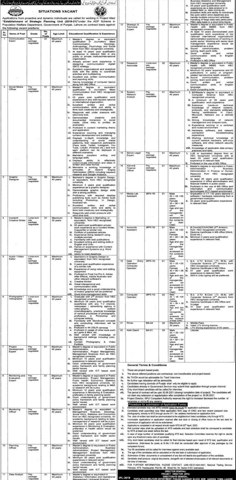 Strategic Planning Unit SPU Jobs NTS Roll No Slip Population Welfare Department Punjab