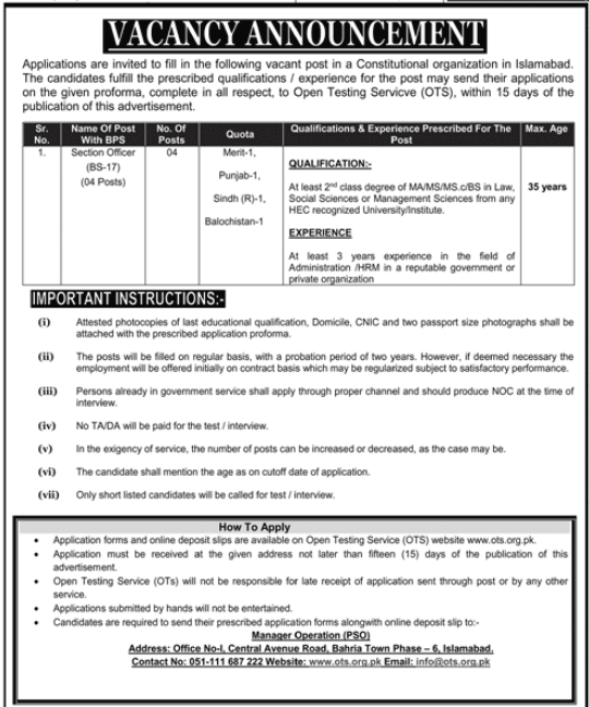 Constitutional Organization Jobs OTS Test Result