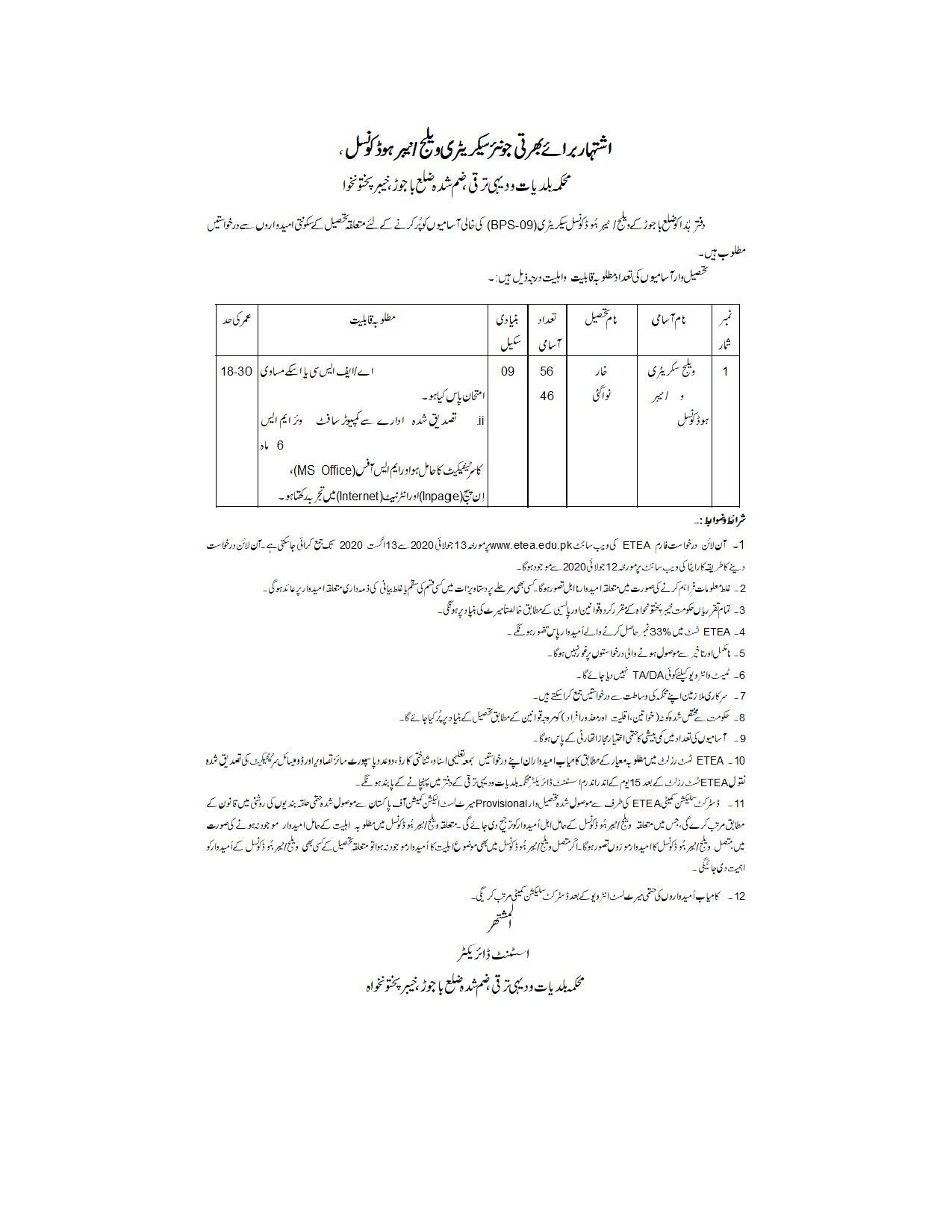 TMA District Orakzai Village secretaries Jobs ETEA Roll No Slip