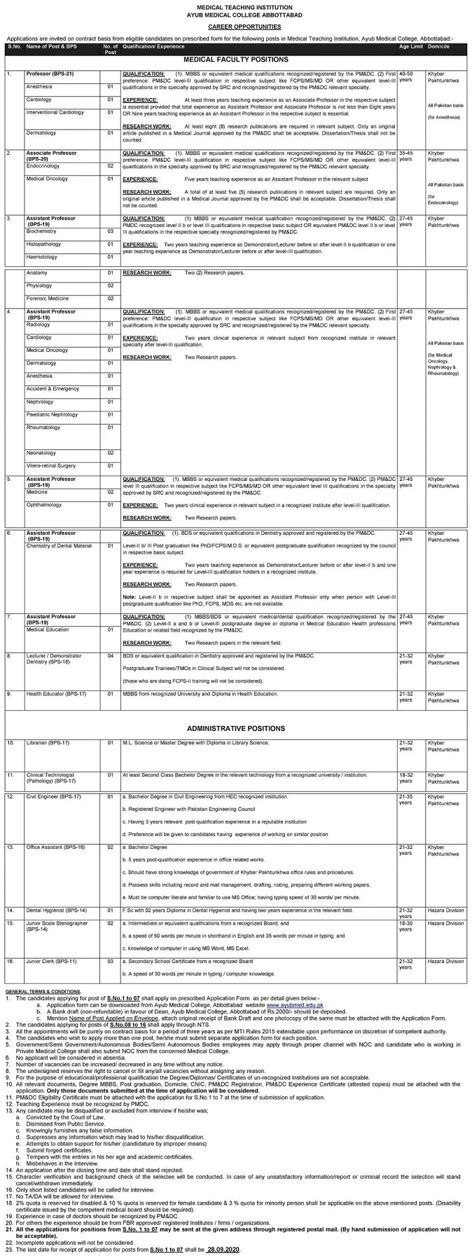 Ayub Medical College Abbottabad Medical Teaching Institution Medical Administrative Posts NTS Roll No Slip