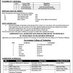 Government Colleges of Technology Peshawar Admission ETEA Roll No Slip B.Tech