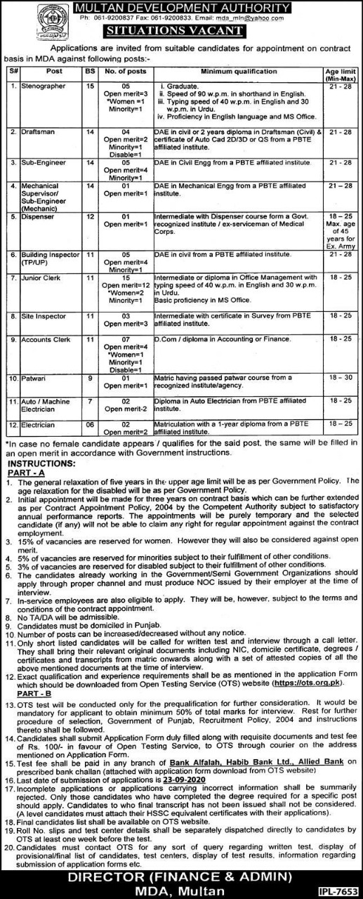 Multan Development Authority MDA Jobs OTS Roll No Slip