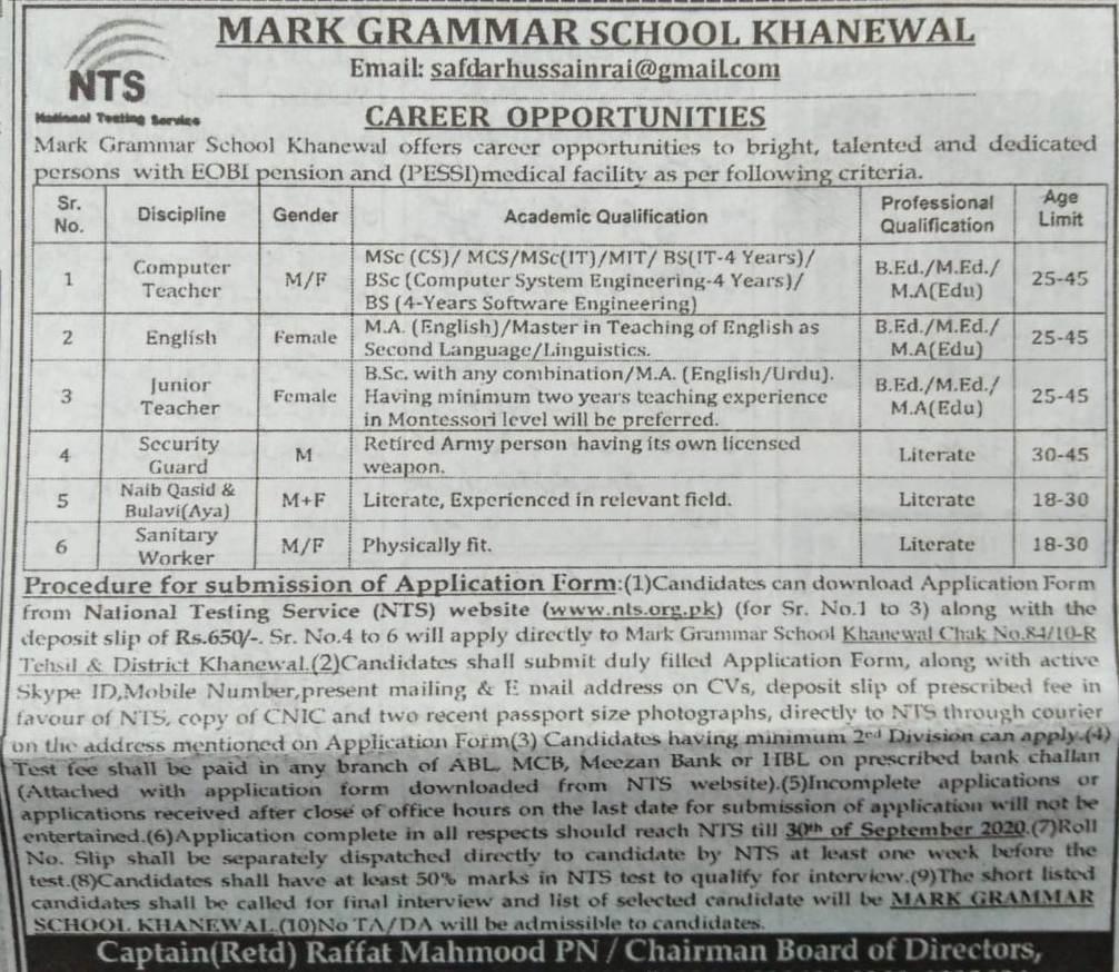 Mark Grammar School Khanewal Jobs NTS Roll No Slip