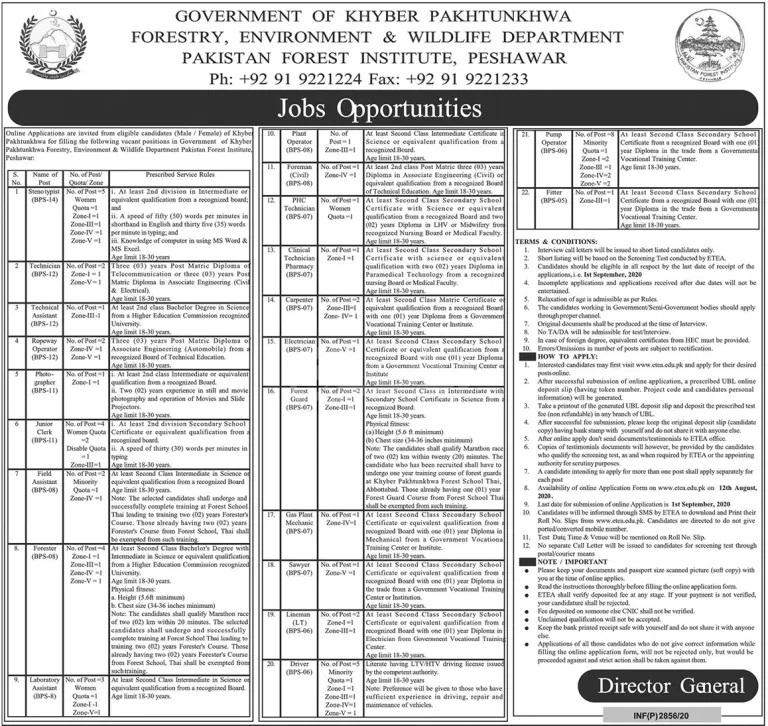 Forestry Environment Wildlife Department Jobs ETEA Roll No Slip Pakistan Forest Institute PFI Peshawar