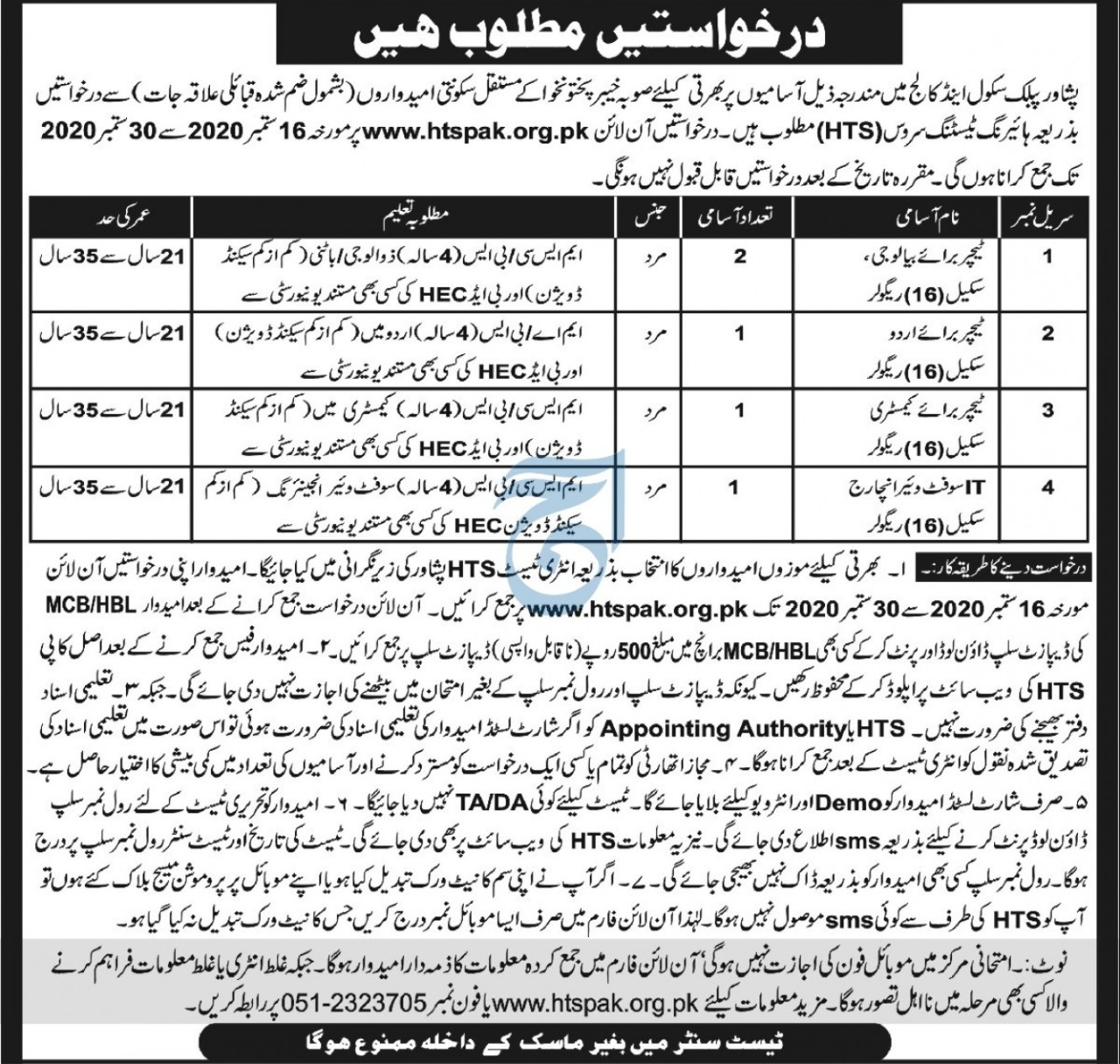 Peshawar Public School College Boys Jobs HTS Roll No Slip