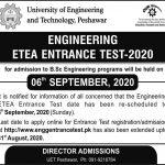 UET Peshawar Admission BSc Engineering ETEA Result Merit List 2020