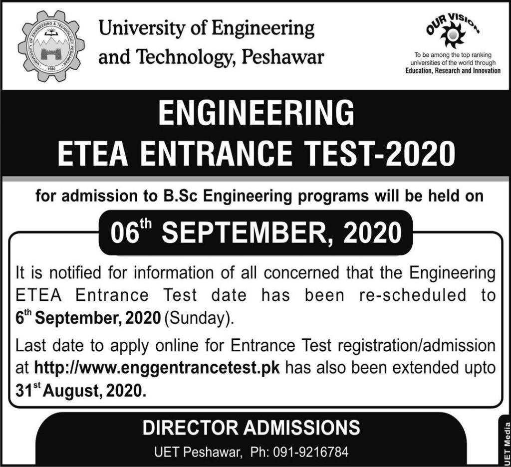 UET Peshawar Admission BSc Engineering ETEA Result Merit List 2020
