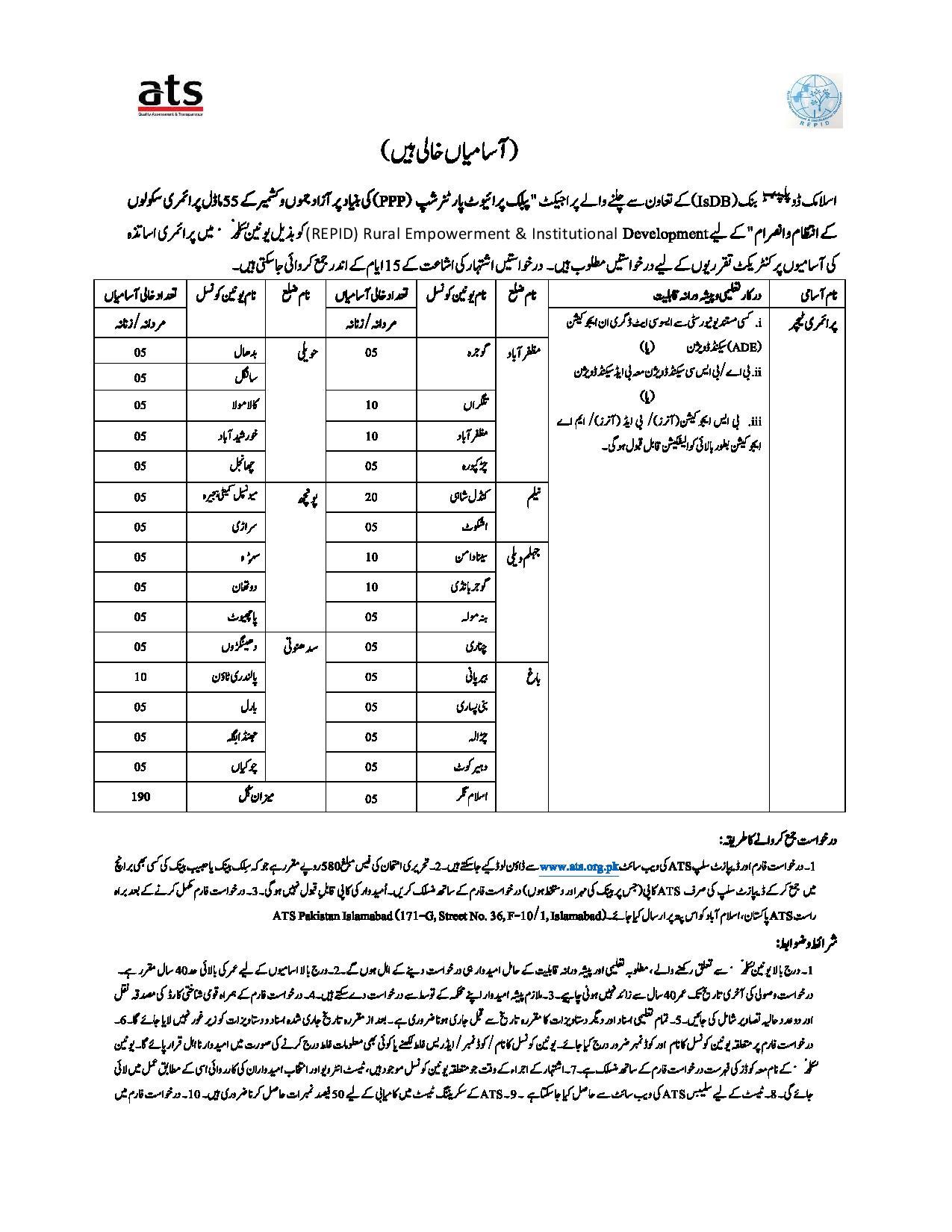 AJK Azad Jammu Kashmir Primary Teacher Jobs ATS Roll No Slip