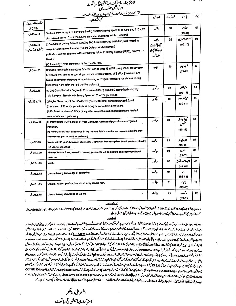 District Session Judge Sialkot Jobs CTSPAK Roll No Slip