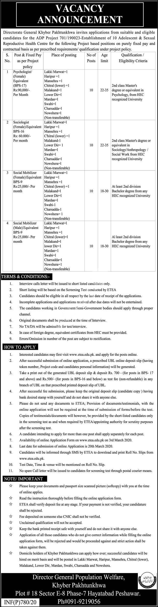Director General Population Welfare KPK Jobs ETEA Result