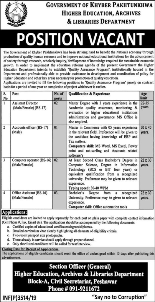 Quality Assurance Program Higher Education KPK Jobs ETEA Result Higher Education Archives Libraries Department