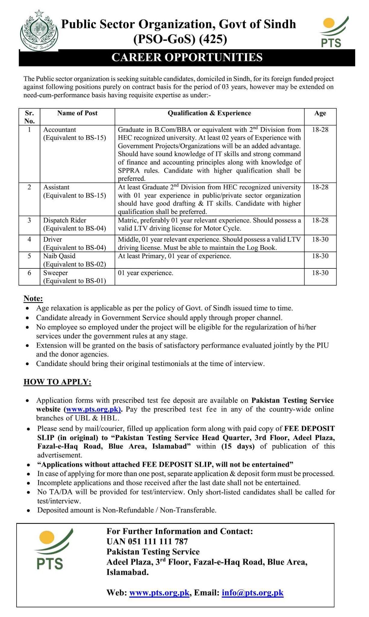 Public Sector Organization Jobs PTS Roll No Slip