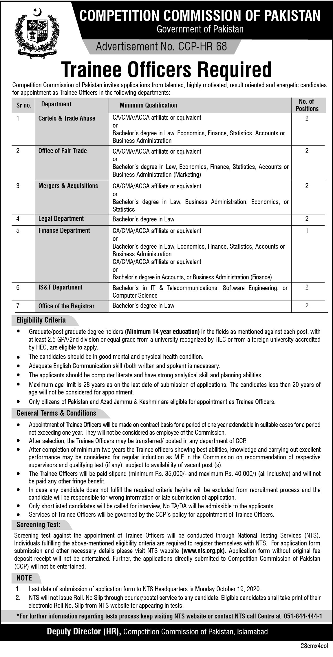 Competition Commission Of Pakistan Trainee Officers Jobs NTS Roll No Slip
