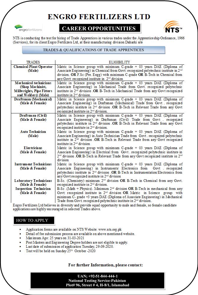 Engro Fertilizers Limited Trade Apprentice Hiring Jobs NTS Result