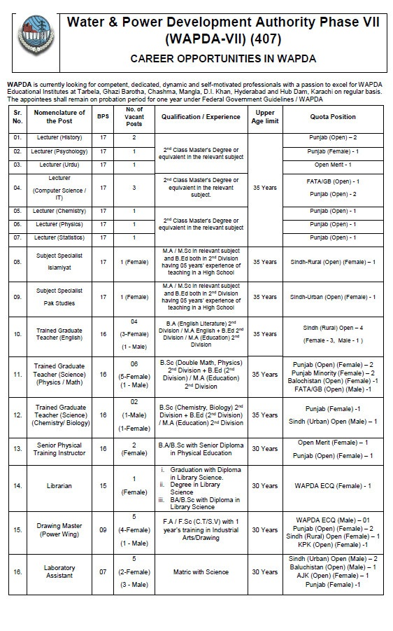 Wapda Jobs PTS Roll No Slip Phase 7 Water & Power Development Authority